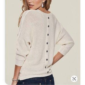 Venus Sz. L Button Back Dolman Slv Sweater Ivory